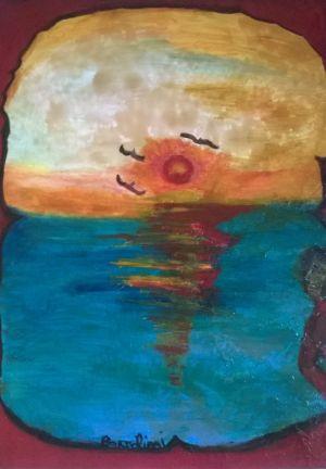 Tramonto sul mare, 60 x 80. olio su tela.
